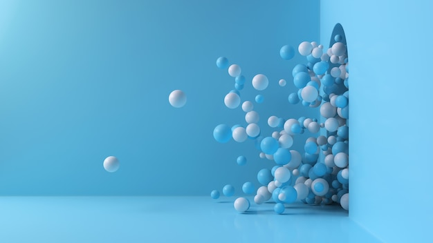 Blue and white balls shoot out of the open door into a large bright room