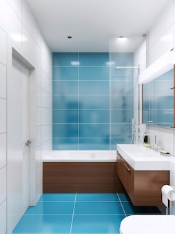 Blue and white bathroom with brown wooden futnirute in contemporary style