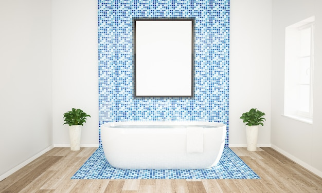 Blue and white bathroom with poster mockup