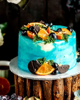 Blue white cake with fruits
