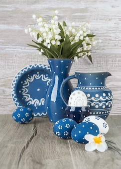 Blue-white easter decorations, space