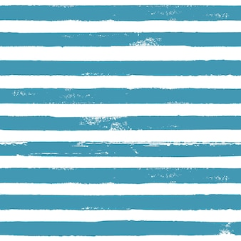 Blue and white grunge abstract hand drawn striped seamless pattern