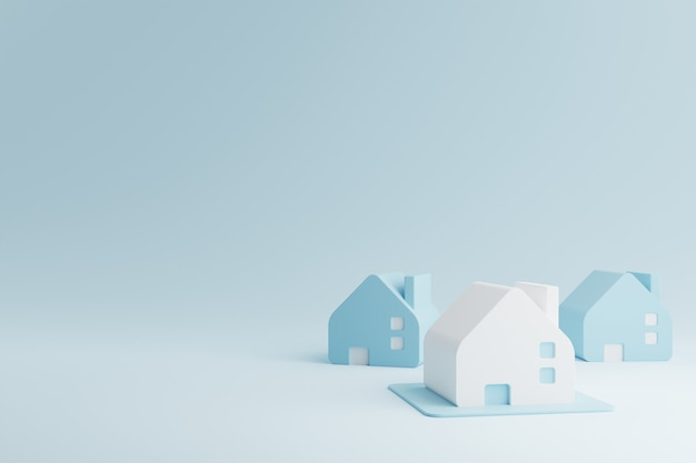 Blue and white houses. real estate business investment and properties concept. 3d rendering