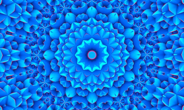 青白多角形のモザイクの背景、万華鏡の壁紙。クリエイティブなビジネスデザインテンプレート。
