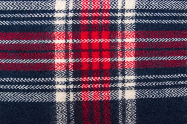 Blue, white, red cage fabric or cloth textile.