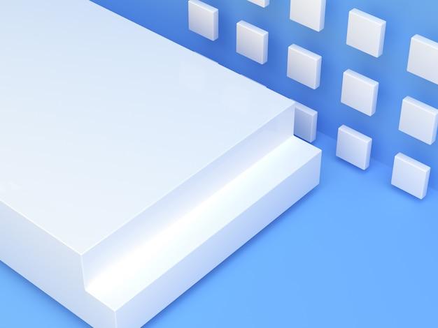 Blue white scene 3d rendering blank podium abstract modern background