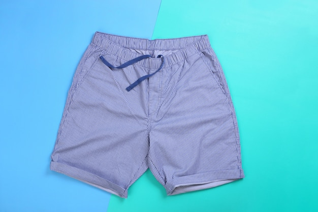 Blue white stripe casual short pants on pastel color background
