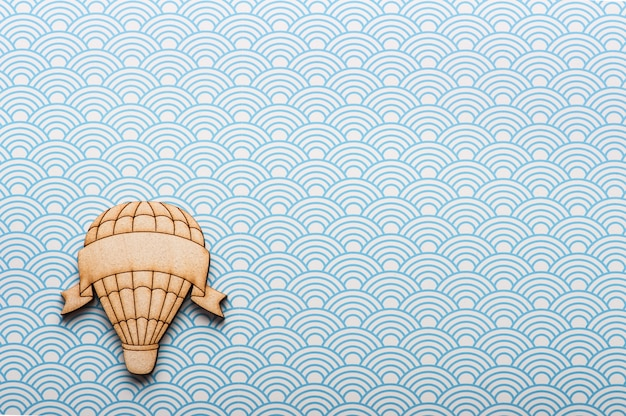 Blue white waves desk with hot air balloon