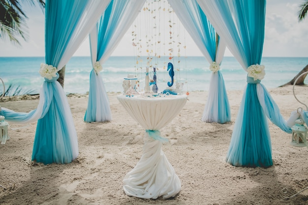 Blue and white wedding aisle in a beach surrounded by palms with the sea on the background