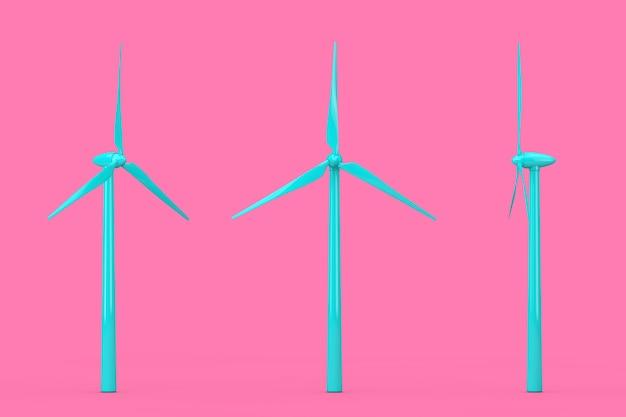 ピンクの背景にデュオトーンスタイルの青い風力タービン風車。 3dレンダリング