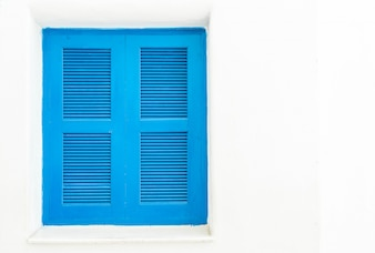 Blue window with white wall