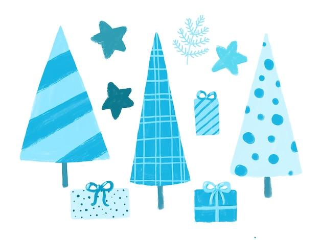 白い背景で隔離の青い冬のクリップアートセット新年のツリーは星のイラストを提示します