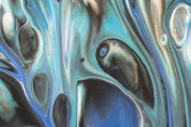 銀の創造的な抽象的な手描きの背景、大理石のテクスチャ、抽象的な海、キャンバス上のアクリル画と青。現代美術。現代美術