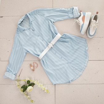 Blue women shirt and accessories