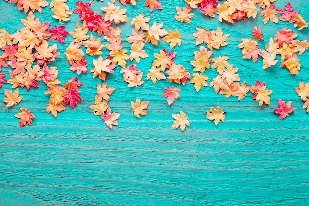 Blue wooden background with fall leaves