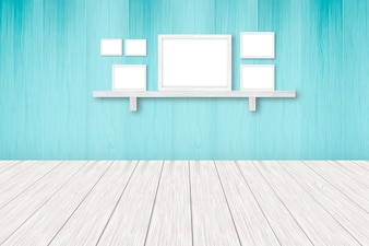 Blue wooden background with white frames interior decoration, 3D illustration