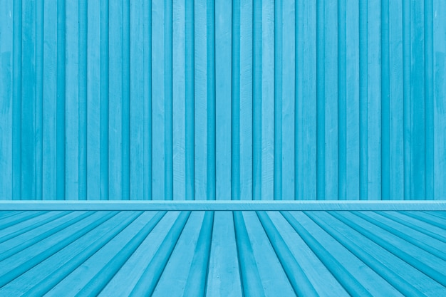 Blue wooden interior room, wood texture for background vintage style