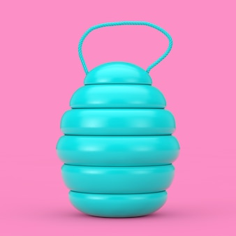 Blue wooden natural organic honey barrel keg in duotone style on a pink background. 3d rendering