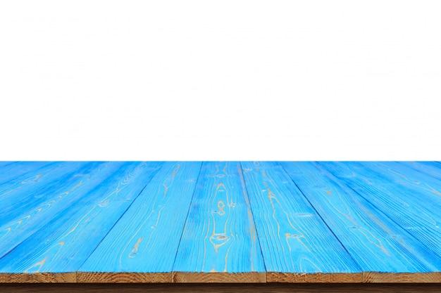 Синий деревянный стол или прилавок, изолированные на белом
