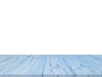 Blue wooden textured table top isolated on white backdrop