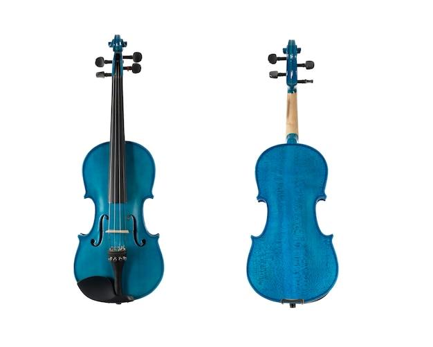 Синяя деревянная скрипка, изолированные на белом фоне