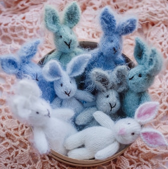 Blue woolen rabbits lie on pink blanket