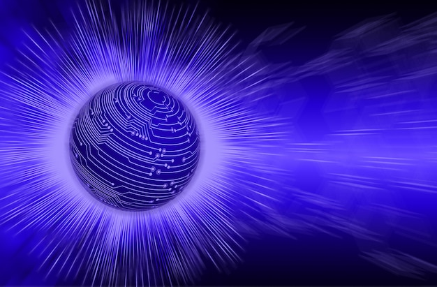Синий мир кибер схема будущей технологии концепция фон