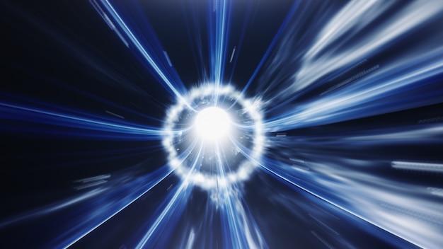青いワームホールの時間渦空間