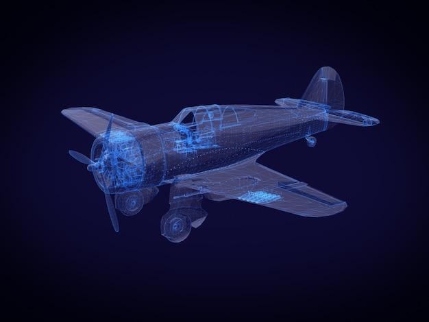 블루 엑스레이 항공기. 3d 렌더링