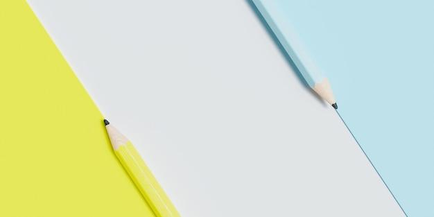 복사 공간 파란색, 노란색, 흰색 줄무늬 연필 표면