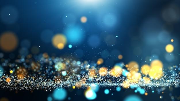 青黄色のデジタル粒子波と明るい背景サイバーまたは技術の背景