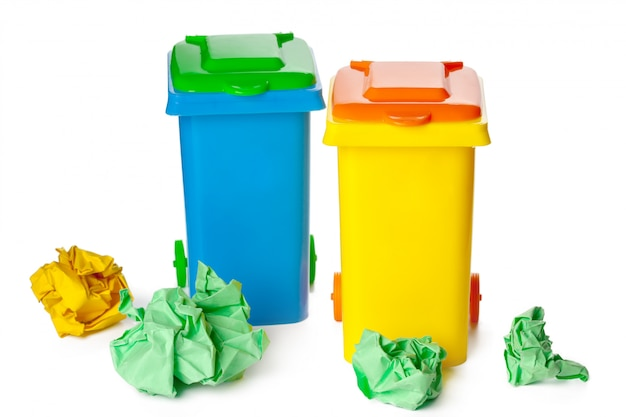 Blue and yellow recycle bin isolated