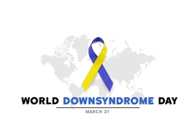Blue and yellow ribbon for world down syndrome day
