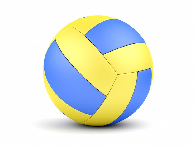Blue and yellow soccerball on white closeup