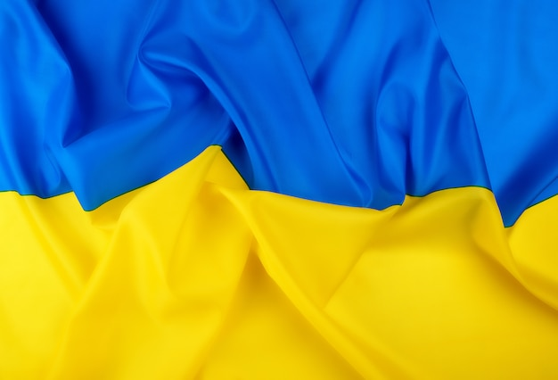 Blue-yellow textile silk flag of the state of ukraine
