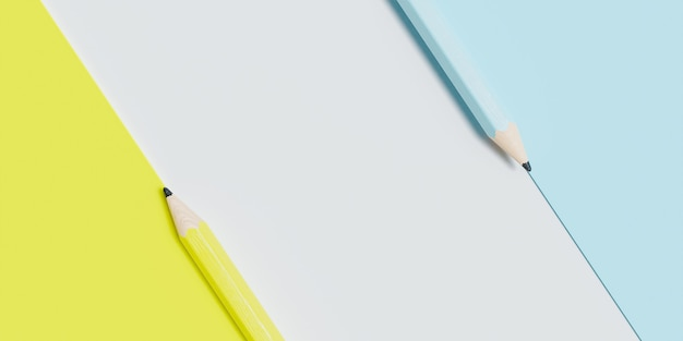 Blue, yellow and white striped pencil surface with copy space