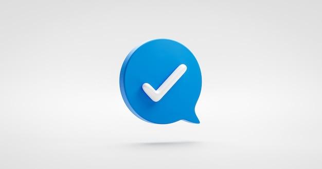 파란색 예 확인 표시 아이콘 기호 또는 승인된 연설 거품 체크리스트 플랫 디자인 개념을 사용하여 흰색 체크 표시 배경에 격리된 올바른 버튼 및 그림 선택 기호를 확인합니다. 3d 렌더링.