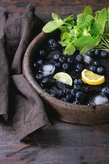 Blueberries lemonade with ingredients