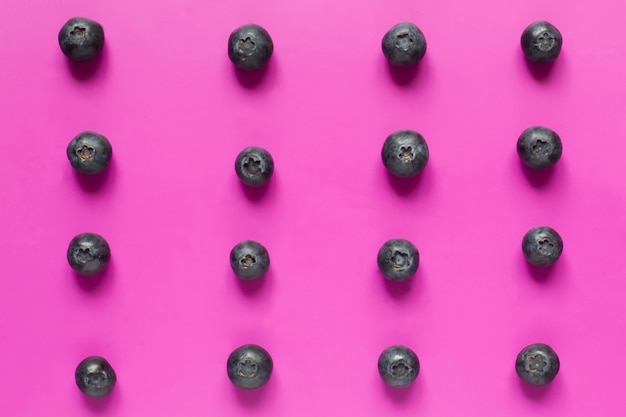 Blueberries lined in rows on a pink background