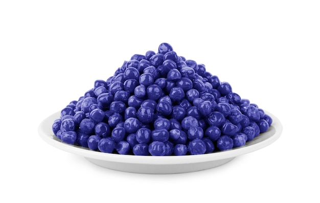 Blueberries in a plate on white background