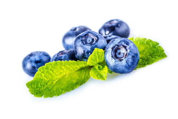 Blueberries with mint leaves isolated on white background.