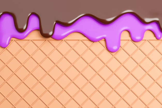 블루베리와 초콜릿 아이스크림은 웨이퍼 배경에서 녹았습니다., 3d 모델 및 그림.