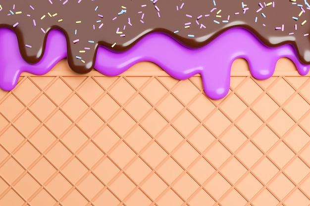 블루베리와 초콜릿 아이스크림은 웨이퍼 배경, 3d 모델 및 일러스트레이션에 스프링클과 함께 녹았습니다.