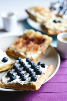 Blueberry and banana homemade with coffee