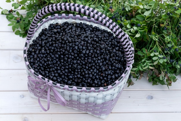 Blueberry in basket. summer, harvest of berries.
