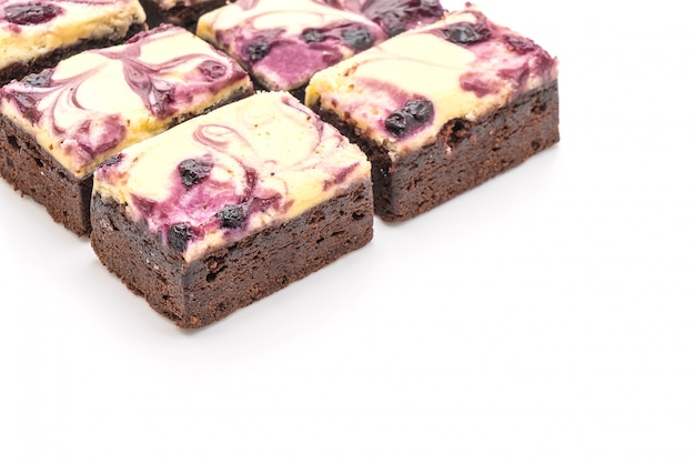 Blueberry cheese brownies isolated