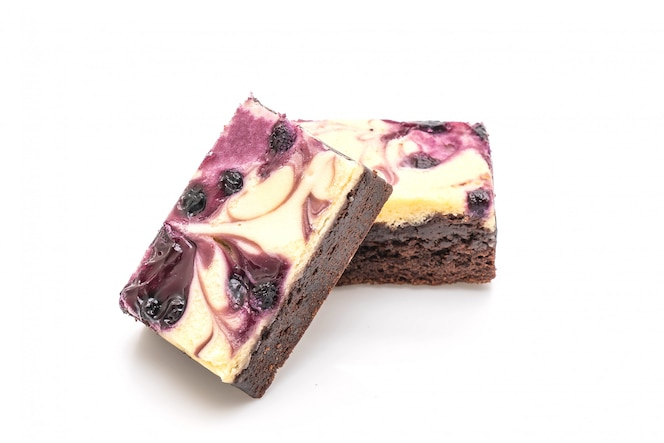 Blueberry cheese brownies on white background