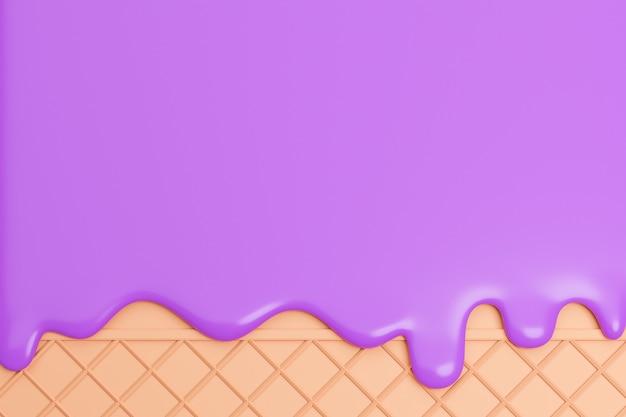 블루베리 아이스크림은 웨이퍼 배경에서 녹았습니다., 3d 모델 및 그림.