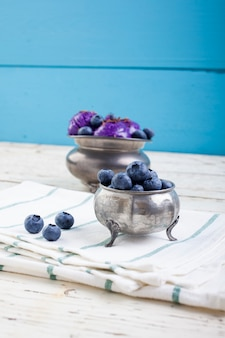 Blueberry ice cream on pewter cup