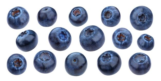 클리핑 패스, 매크로, 컬렉션이 있는 흰색 배경에 격리된 블루베리